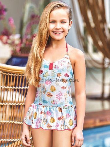 Adasea 5041 Kız Çocuk Elbise Mayo - Mavi