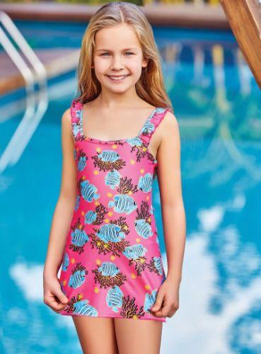 Adasea 5040 Kız Çocuk Elbise Mayo - Fuşya