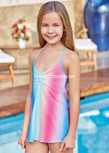 Adasea 5045 Kız Çocuk Elbise Mayo - Fuşya