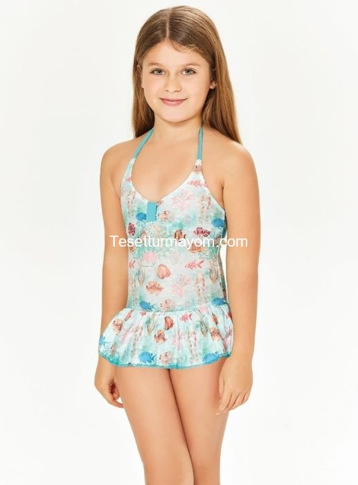 Adasea 5041 Kız Çocuk Elbise Mayo - Mint