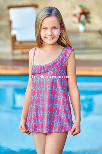 Adasea 5043 Kız Çocuk Elbise Mayo - Turkuaz