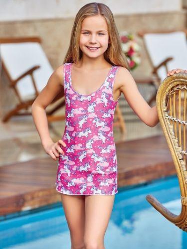 Adasea 5044 Kız Çocuk Elbise Mayo - Fuşya