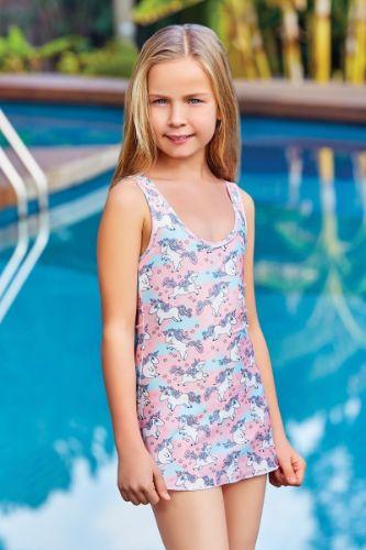 Adasea 5044 Kız Çocuk Elbise Mayo - Pembe
