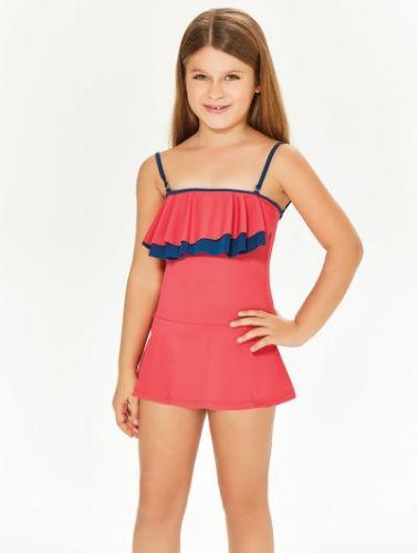 Adasea 5048 Kız Çocuk Elbise Mayo - Mercan