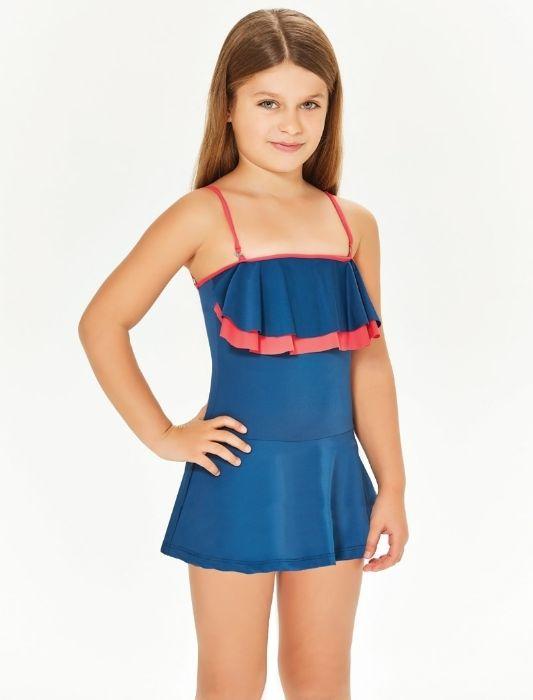 Adasea 5048 Kız Çocuk Elbise Mayo - Açık Lacivert