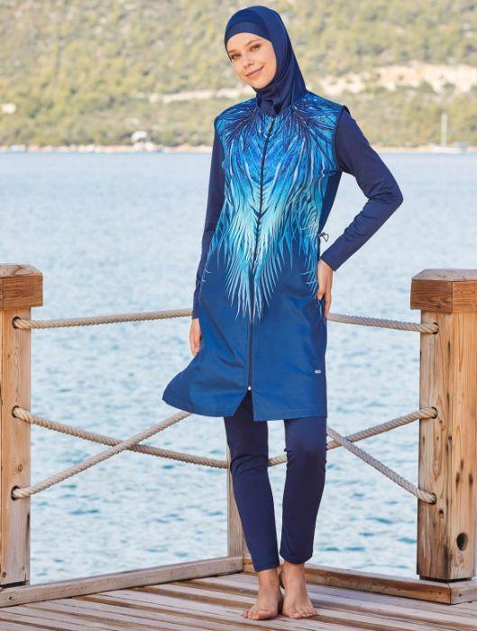 Adasea Full Cover Burkini Swimsuit 2178-2